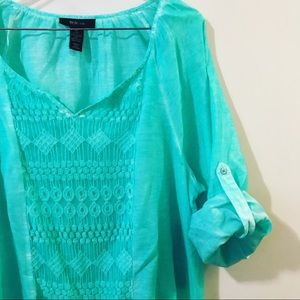 Style & Co Catalina Peasant Top Tunic  Turquoise